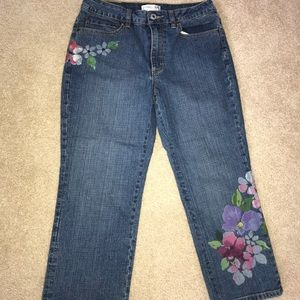 Jeans with  flowers Coldwater Creek